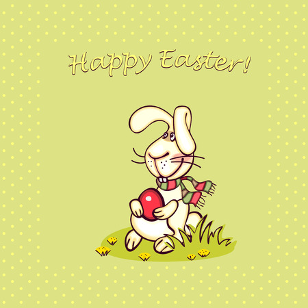 happy easter card. easter  bunny and eggs. Vector