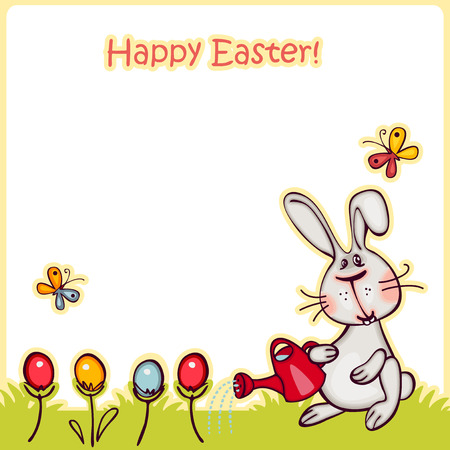 happy easter banner. easter  bunny and eggs. vector background Vector