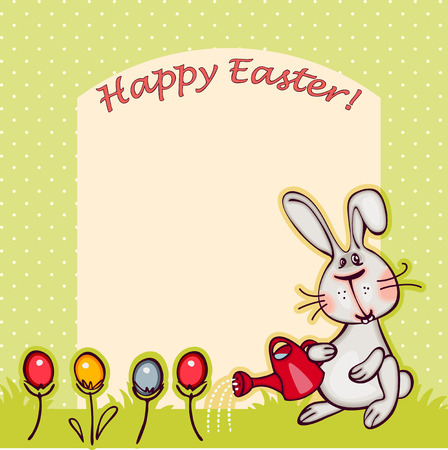 funy: happy easter banner. easter  bunny and eggs. vector background
