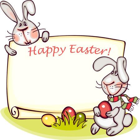 osterhase: Frohe Ostern Banner. Osterhasen und Eier. Vektor-Hintergrund