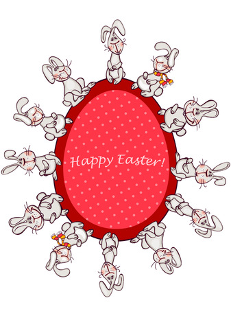 happy easter card. easter  bunny and red egg Vector