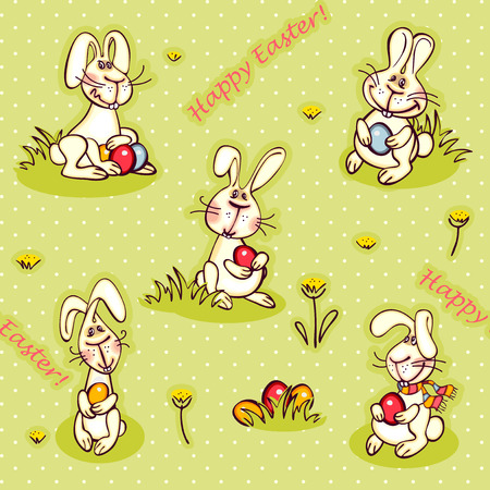 Happy Easter Wallpaper Bunny And Red Egg Stock Vector