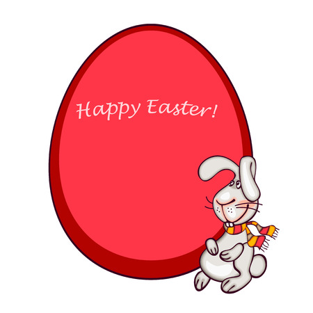 funy: happy easter card. easter  bunny and red egg