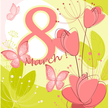 flora  vector: Greeting card with March 8