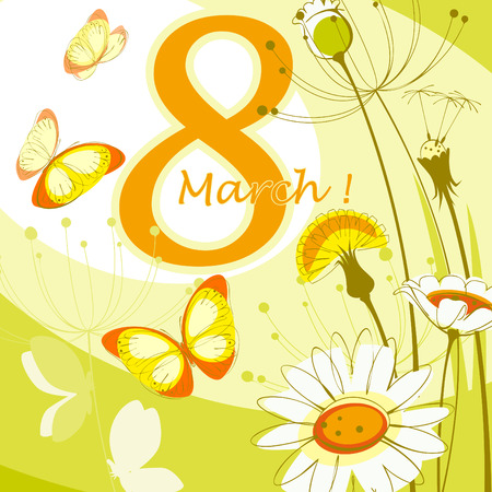 daisy vector: Greeting card with March 8