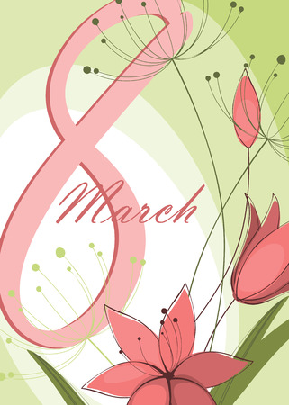 march 8: Greeting card with March 8