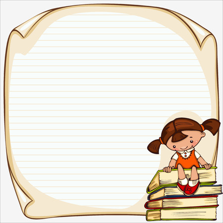 school children's  vector banner. Place for text