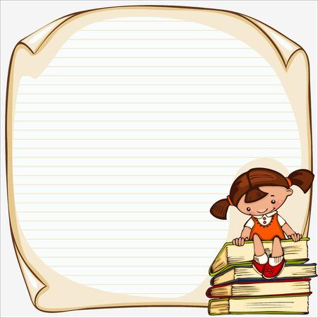Schulkinder Vektor-Banner. Platz für Text Illustration
