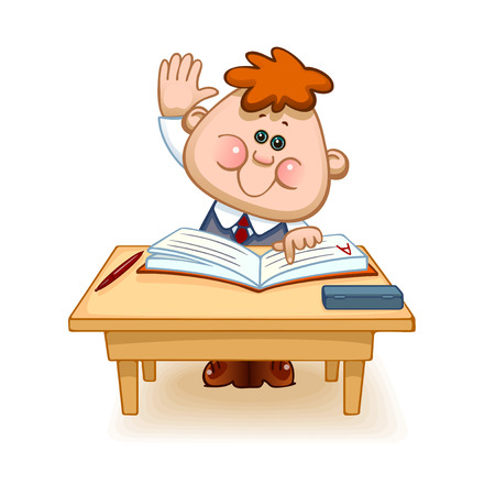 september 1: Back to school. Cute schoolchild at the table raises his hand to answer a lesson. Vector illustration