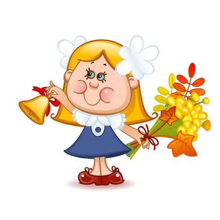 first grader: Back to school. Cute schoolchild with school bell. Vector illustration Illustration