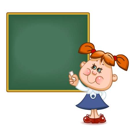 blackboard cartoon: Back to school. Cute schoolchild at the  blackboard to answer a lesson. Vector illustration