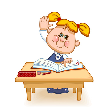 study table: Back to school. Cute schoolchild at the table raises his hand to answer a lesson. Vector illustration