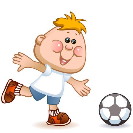 sports schoolboy play in soccer. vector illustration Vector