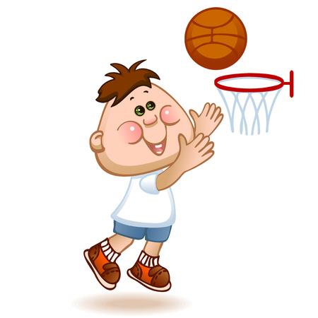 sports schoolboy play in basketball. vector illustration Vector