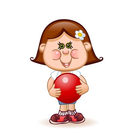 sports schoolgirl deals rhythmic gymnastics with a red ball Vector