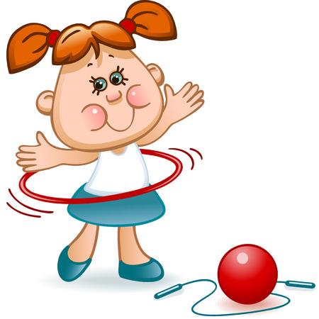 saltar la cuerda: colegiala deporte ocupa la gimnasia rítmica con una pelota, aro y salto de cuerda roja Vectores