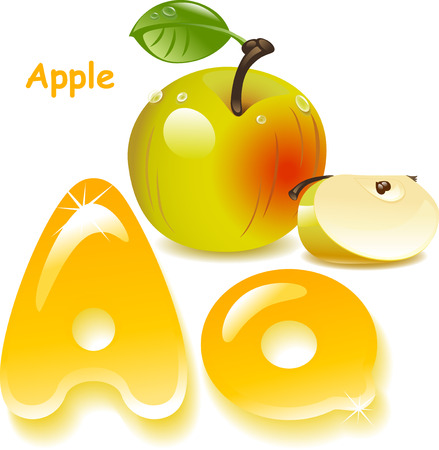 apple slice: Alphabet. Letter A- Apple. English capital and uppercase letter A, stylized color of apple juice. Green apple with leaf and slice. Illustration