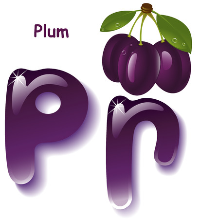 purple leaf plum: Alphabet. English capital and uppercase letter P, stylized color of  plum purple juice. branch plum with leaf . vector illustration