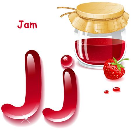 letter j: Alphabet. English capital and uppercase letter J, stylized color of strawberries jam. bank strawberries jam. vector illustration