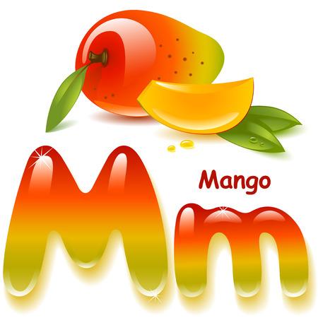 アルファベット。英大文字、大文字の M、マンゴー ジュースの様式化された色。マンゴー葉とスライス。ベクトル イラスト