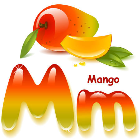 Alphabet. English capital and uppercase letter M, stylized color of mango  juice. mango with leaf and slices. vector illustration Ilustracja