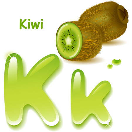 Alphabet. English capital and uppercase letter K, stylized color of kiwi  juice. green, kiwi and slices. vector illustration Vector
