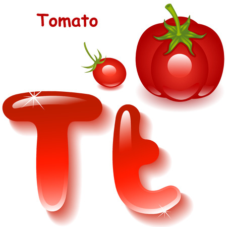 uppercase: Alphabet. English capital and uppercase letter T, stylized color of tomato juice. red tomato and cherry tomatoes. vector illustration Illustration