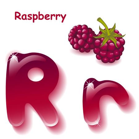 crimson: Alphabet. English capital and uppercase letter R, stylized color of crimson juice.  berrys raspberry. vector illustration Illustration