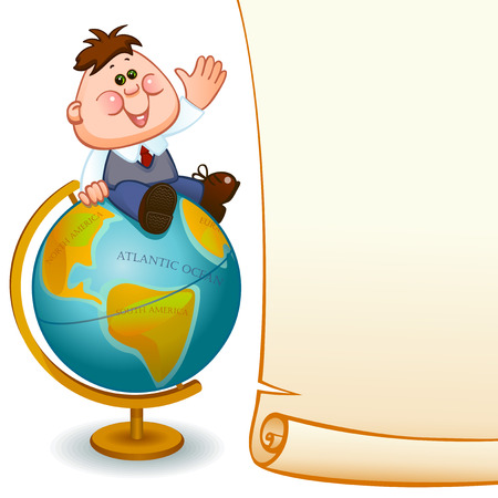 Frame with school child,  boy on globe. Space for text. Vector illustration Vector