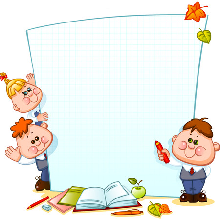 school border: Frame with school children and school supplies. Space for text. Vector illustration
