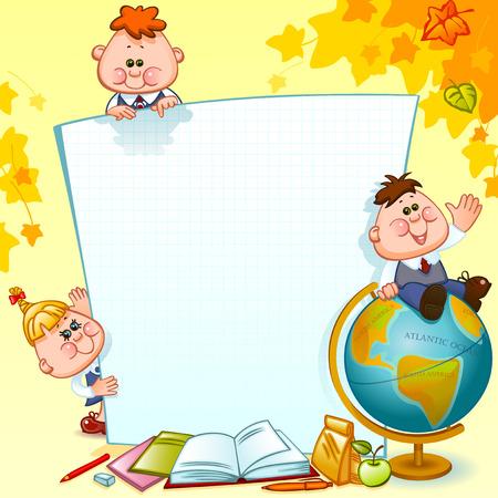 Frame with school children, school supplies and globe. Space for text. Vector illustration