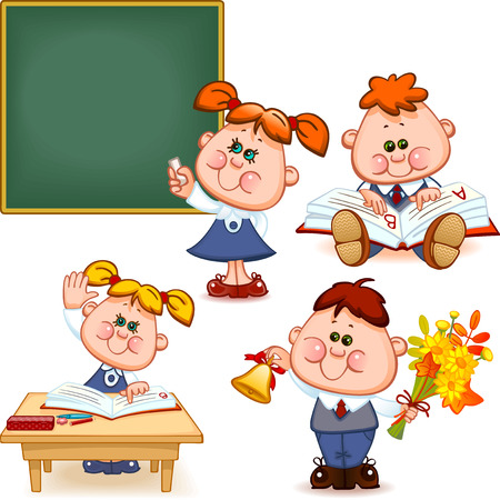 lessons: school set. Boy and girl at the blackboard, at the desk, reading a book, teach the alphabet, with flowers and a bell. Vector illustration Illustration