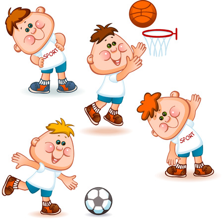 boy basketball: sports school  boy set. gymnastics, soccer and basketball. Vector illustration Illustration