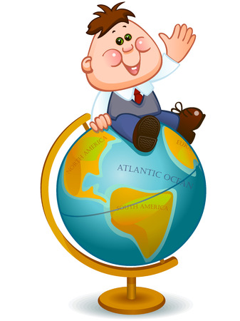 turns: Back to school. geography lesson. school child turns on the globe. Vector illustration