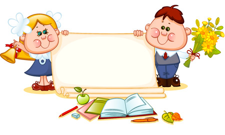 old page: Frame with school children and school supplies. place for text. Vector illustration