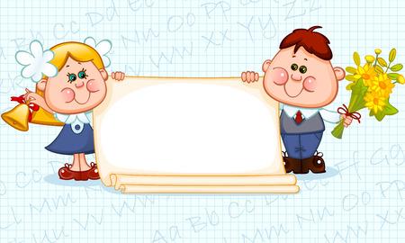 Frame met schoolkinderen en schoolbenodigdheden. plaats voor tekst. Vector illustratie