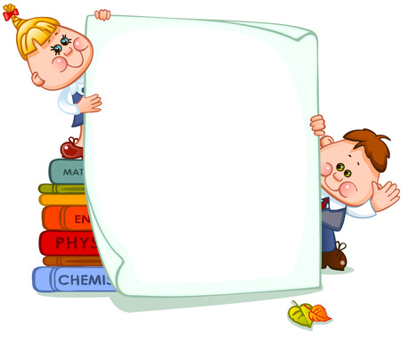 reads: Frame with school children and school supplies. place for text. Vector illustration