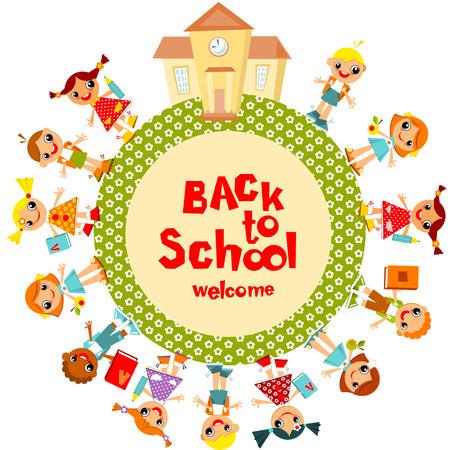 girotondo bambini: Bentornati a scuola. Scolari vanno a scuola, tenendosi per mano. Illustrazione vettoriale. Vettoriali