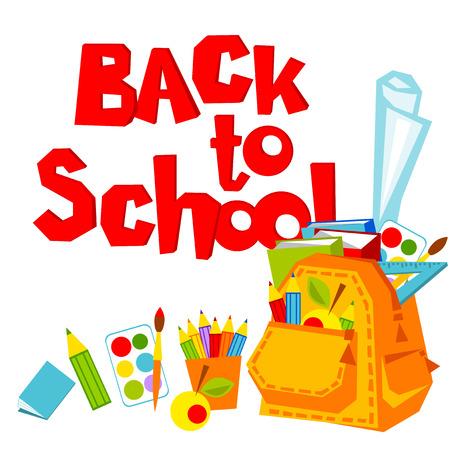 september 1: Back to school. backpack and a set of school supplies. Vector illustration. Illustration