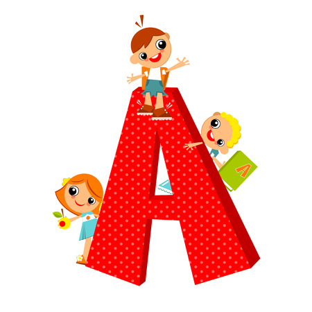 look out: School children look out for the letter A. Vector illustration.