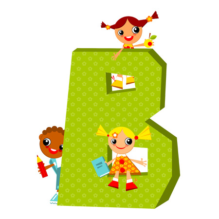 letters clipart: School children look out for the letter B. Vector illustration.