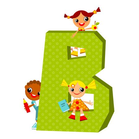 september 1: School children look out for the letter B. Vector illustration.