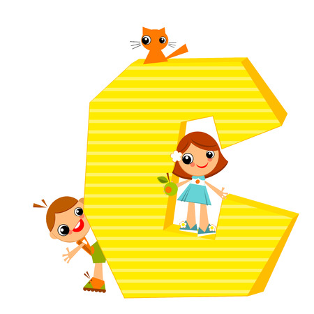 september 1: School children look out for the letter C. Vector illustration. Illustration