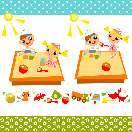 brother and sister cartoon: Little girl and boy playing in a sandbox on a playground