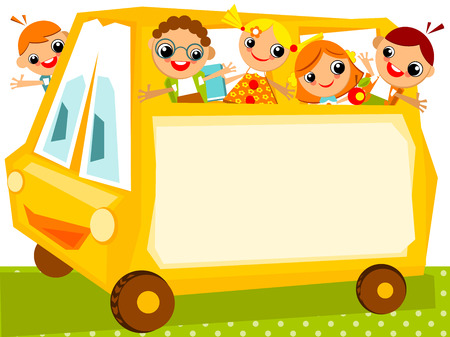 school schedule: School schedule. Place for your text on a yellow school bus with happy kids Illustration