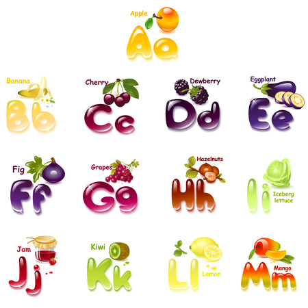 bright alphabet: Alphabet. English capital and uppercase letter with  fruits. part 1