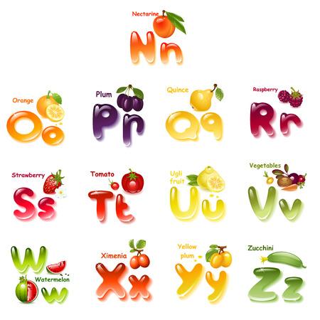Alfabeto. Inglés capital y la letra mayúscula con frutas. parte 2
