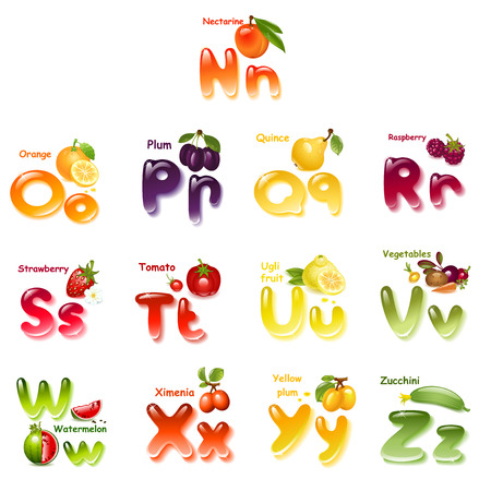 english: Alphabet. English capital and uppercase letter with  fruits. part 2 Illustration