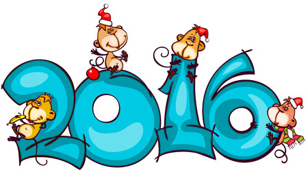 happy new year: Chinese zodiac new year banner 2016 with the monkey