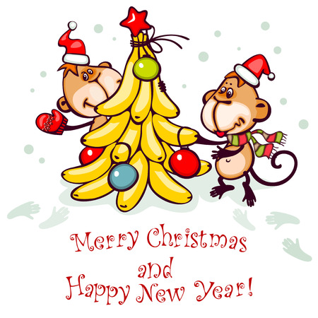 monkey clip: Chinese zodiac postcard 2016 with the monkey and stylized christmas tree. banner merry christmas and happy new year.